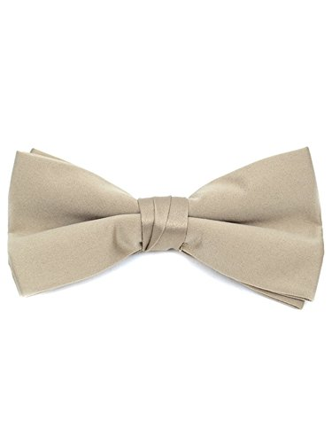 Men's Taupe Pre-tied Clip On Bow Tie - Formal Tuxedo Solid Color (Bow Taupe)