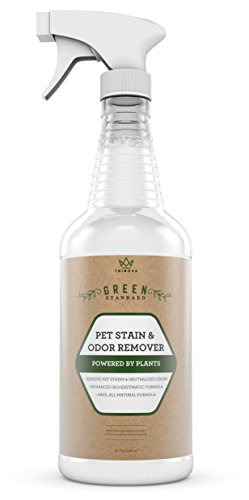 TriNova Natural Pet Stain and Odor Remover Eliminator - Advanced Enzyme Cleaner Spray - Remove Old & New Pet Stains & Smells for Dogs & Cats - All-Surface Safe - 32 OZ Feces Stain Removal