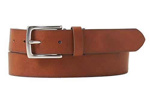 Banana Republic Mens Contrast Buckle Thread Vegan Leather Belt Cognac Brown (34) (Banana Republic Leather)