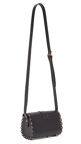 Borsa a tracolla Furla Amazzone mini in pelle nera con borchie