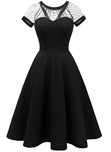 LVNES IV1801 Women's 1950s Retro Illusion Cocktail Party Swing Dress Sheer Mesh A-line Prom Dress Black 2XL