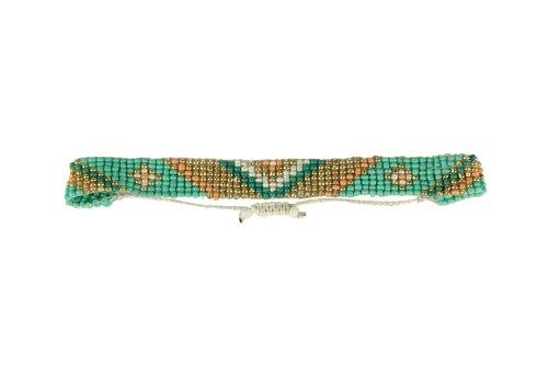 3TEN Native American Seed Bead Adjustable Bracelet Anklet Mint Gold Peach