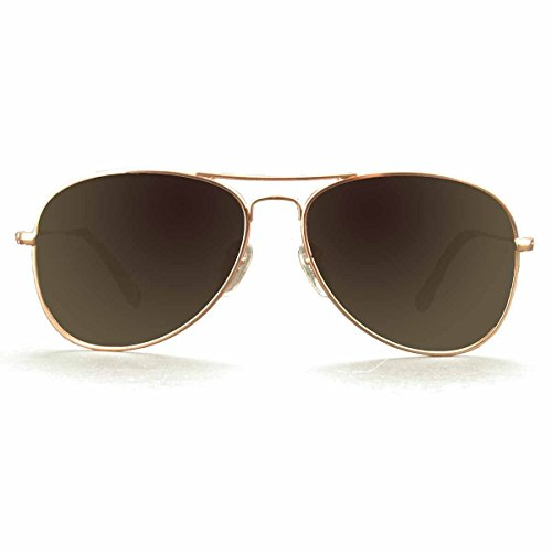 (KZ Aviator Medium Polarized Sunglasses for Men and Women (Rose Gold Metal Frame, Brown)