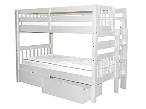Bedz King Bunk Beds Twin Over Twin Mission Style with End La