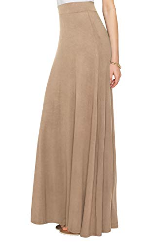 (WDR1434 Womens Solid Maxi Skirt with Elastic Waist Band M TAUPE )
