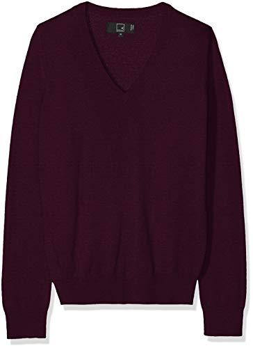 MERAKI Women's Merino V Neck Sweater,  Red (Berry Marl), EU M (US ()
