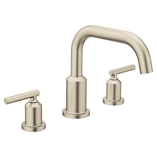 Moen T961BN Gibson Two-Handle Deck Mounted Modern Roman Tub Faucet without Valve, Brushed Nickel