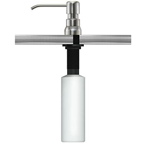 SPECIAL PRICING Kitchen-Classics Best Stainless Steel Sink Soap Dispenser (Satin) Model SSD4 - Large Capacity 17 OZ Bottle - Easy Installation - Well Built and Sturdy - 5 Yr Replacement Warranty on sale