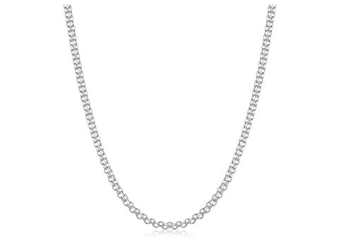 Necklace Bismark Designer - Pori Jewelers .925 Sterling Silver Italian Bismark Chain Necklace - 1.8mm, 2.2mm, 3mm - (20, 1.8mm)