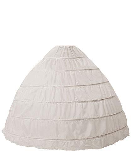 Taffeta Gown White Wedding - Amore Bridal Women's Petticoat 6-Hoop Puffy Ball Gown Slips Crinoline Underskirt for Prom Wedding Dress White