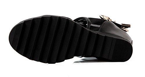 YE Frauen Offene Peep Toe Plateau Keilabsatz Mesh Height Increasing Summer Sommer Sandalen Schuhe mit Schnalle Ankle Boots Schwarz
