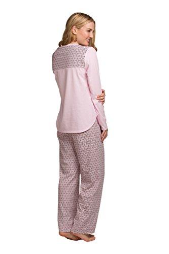 Señoras de las mujeres ropa de dormir ropa de dormir de té impresión de manga larga pijama traje conjunto, varios colores y tamaños Color de rosa