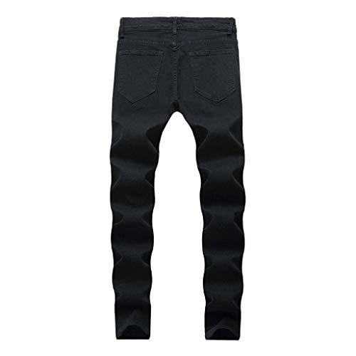 Hombres Negro Cómodo Pitillo Pantalones Rasgados De Mezclilla Los Battercake Largos Vintage Uaq6OwZ