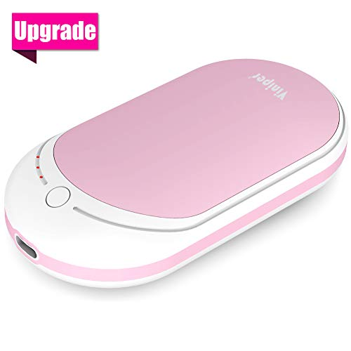 VINIPER Rechargeable Hand Warmer, 5200mAh Portable Power Bank : Double-Sided Pocket Warmer for iPhone/Samsung/LG/Huawei, All Android Smartphone, Best Gift for Girls, Women, Man, Adults (Pink)