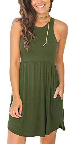(Women Summer Sleeveless Casual Empire Waist Tank Sun Pocket Dress)