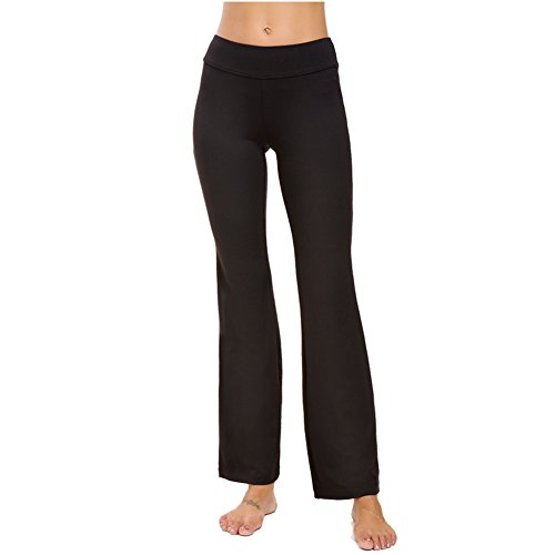 Control Bootcut Legging - Bamans Bootleg Yoga Pants Tummy Control Bootcut Leggings for Women, Black L