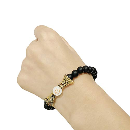 sedmart Men Bracelet Luminous Yoga HandmadeBracelet Glow in Dark Bracelet JewelryBangle Birthday Gift FriendshipBestFriend Black Onyx Cancer Bracelet ()