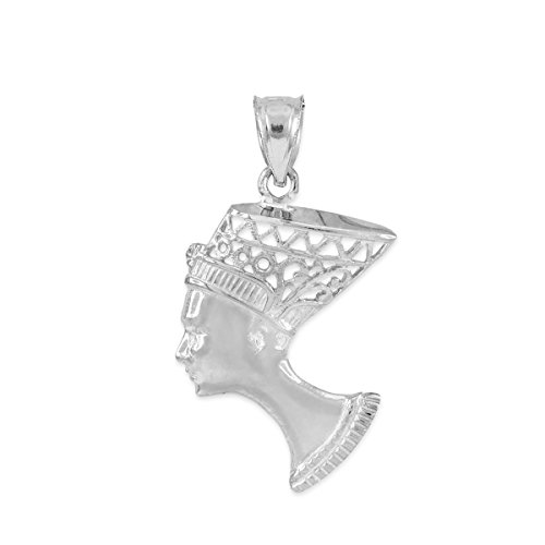 Textured 925 Sterling Silver Egyptian Queen Nefertiti Filigree Charm Pendant