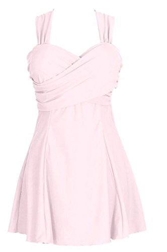 Wantdo Women's Solid Halter One Piece Dress swimsuit Cute Bathing Wear Dress