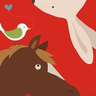 Yuko Lau Farm - Farm Group: Rabbit and Horse by Yuko Lau - 12x12 Inches - Art Print Poster