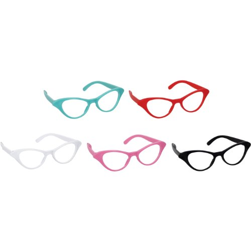 Amscan Nifty 50's Theme Party Cat Style Glasses, Pack of 10, Multi Color