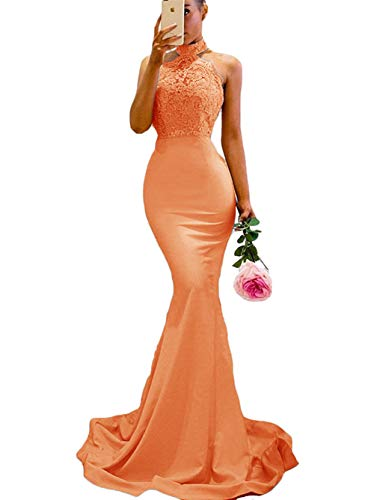 Halter Applique - chenxuanamam Split Halter Zipper Prom Gown Lace Applique Mermaid Bridesmaid Dress Orange US8