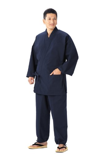 Samue (This is something you can wear at home & Work clothes) made in Japan KurumeImportJapanese clothes size (Navy Blue, L) -