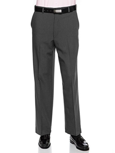 Grey Wool Trousers (RGM Mens Dress Pants – Wool Blend Long Formal Pants for Men, Made in US Charcoal 34 Short)