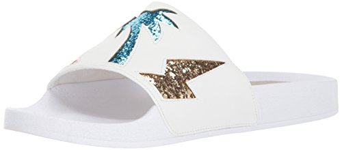 Dolce Vita Women's Traci Slide Sandal, Metallic/Multi Palm Print, 8 M US