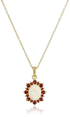 18k Yellow Gold Plated Sterling Silver Created White Opal and Genuine Garnet Halo Pendant Necklace, 18
