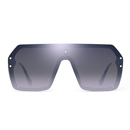 Oversized Shield Sunglasses Flat Top Gradient Lens Rimless Glasses for Women Men (Black Frame/Mirror Silver ()
