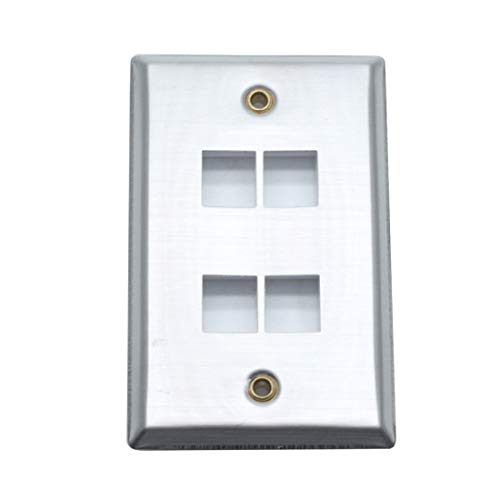 Sscon 4 Port Keystone Wall Plate 1-Gang Stainless Steel Switch Plate Cover, Silver