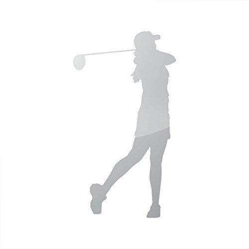 Golfer Sticker (Metallic Woman Golfer Sticker Die Cut female golf girl - Silver)