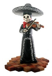 Skeleton Skull Black Mariachi Band Violin Figurine (Rock Bands Violin)