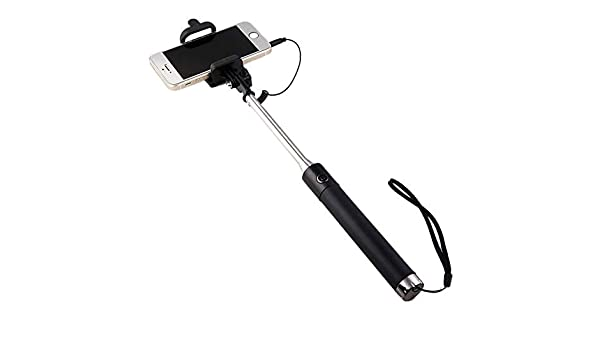 Shot Case selfie-stick-10732 Selfie Stick Metal para Lenovo Phab 2 Pro Smartphone Perche Android iOS Regulable botón Photo Cable Jack Negro: Amazon.es: Electrónica