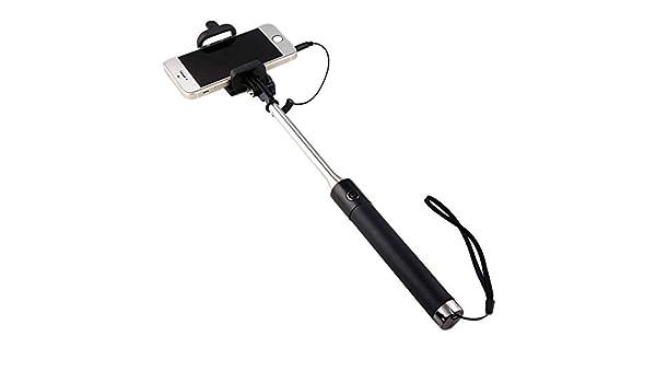 Shot Case selfie-stick-10732 Selfie Stick Metal para Lenovo Phab 2 Pro Smartphone Perche Android iOS Regulable botón Photo Cable Jack Negro: Amazon.es: Electrónica