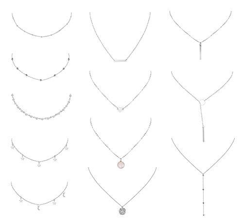 Yadoca 12 Pcs Layered Choker Chain Necklace for Women Girls Star Tassel Moon Heart Beads Coin Pendant Boho Necklace Adjustable Jewelry Set ()