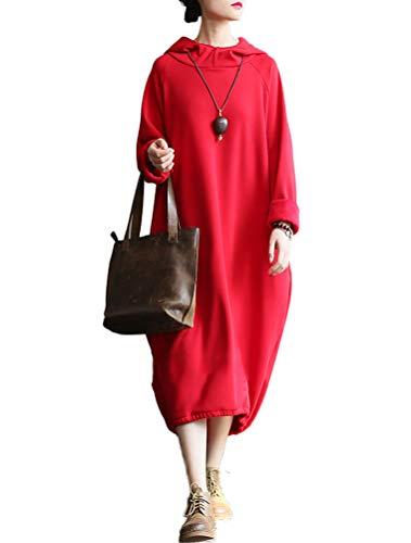 Mordenmiss Women's New Cowl Neck Long Sleeve Sweartshirt Dress (L, Style -