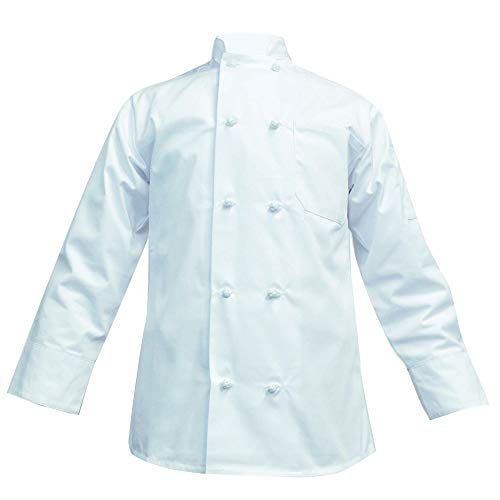 (Long Sleeve Chef Coat Knot Button Chef Coat-Easy-Care Twill (XX-Large, White))