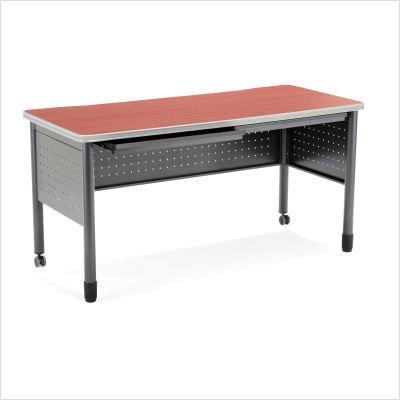 - OFM Mesa Series Training Table - Durable Mobile Utility Desk with Drawers, Cherry, 27.75