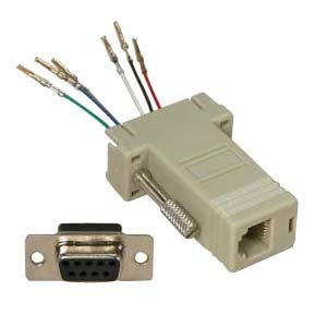 InstallerParts DB9 Female to RJ11/12 (6 Wire) Modular Adapter Ivory -- Gold Plated