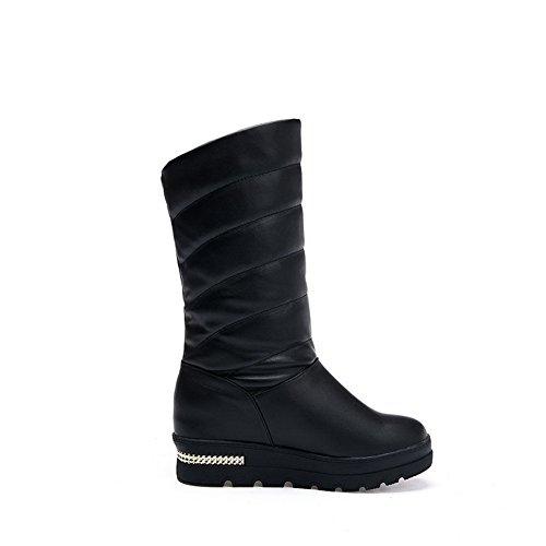 AllhqFashion Womens Low-Top Pull-On Soft Material Kitten-Heels Round Closed Toe Boots Black TgtasJ3g