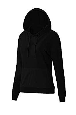SMALNNIE Women's Long Sleeve Sweatshirt Kangaroo Pocket Basic Solid Hoodie