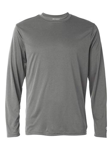 Champion Men's Long Sleeve Double Dry Performance T-Shirt, Stone Gray, Medium ()
