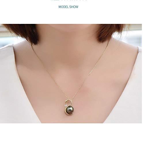 (Fashion Jewelry@ 18k Yellow Gold Tahitian Seawater Black Pearl 12-13mm AAAA Swan Women Pendant)
