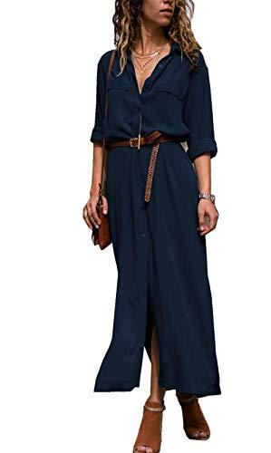 Femme Marine Robe Chic Tulle Maxi Unie Bleu Robe Haute ASSKDAN Taille Robe Fendue Elgant Col Couleur Bouton V fwdqETBxWB