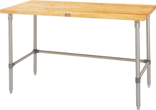 John Boos SNB07 Maple Top Work Table with Stainless Steel Base and Bracing, 36