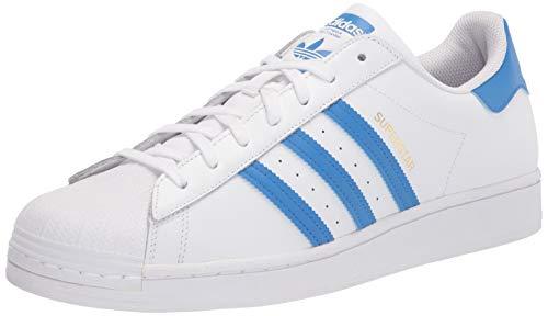 adidas Originals mens Superstar Sneaker, White/True Blue/Gold Metallic, 10.5 US