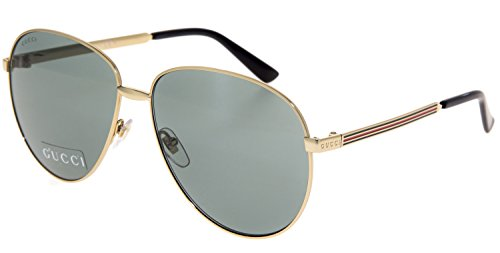 GUCCI WEB 2280 Gold Metal Etched Aviator Blue Retro Sunglasses GG2280S - Web Glasses