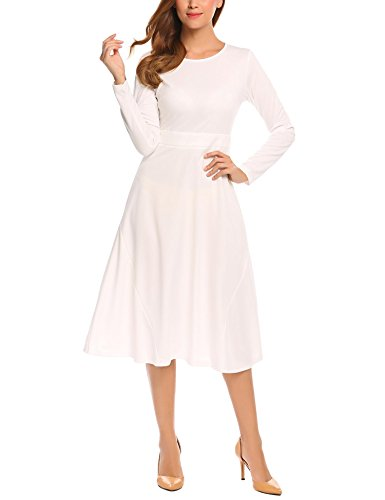Ponte Dress (Zeagoo Women's Casual Scoop Neck Long Sleeve Retro Cooktail Party Vacation Business Swing Dress White XL)